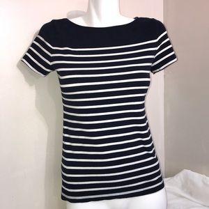🧩H&M Navy Blue & White Stripe Sailer Top